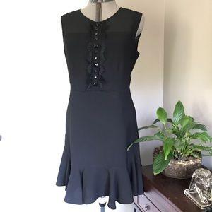 Vince Camuto Black Sheath Dress w/ Ruffle & Lace